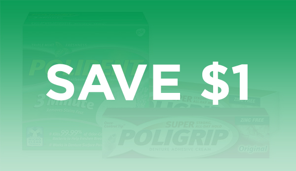 Save $1 on Polident and Super Poligrip Products